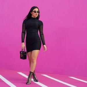 Black Mesh Zipper Bodycon Dress